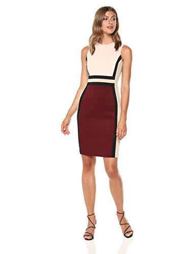 Calvin Klein Women's Sleeveless Color Block Sheath Dress, Blush/Rosewood Multi, 2