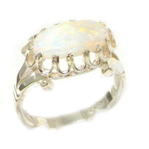 925 Sterling Silver Real Genuine Opal Womens Band Ring – Size 10