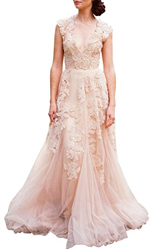 Ruolai Asa Bridal Women's Vintage Cap Sleeve Lace Wedding Dress A Line Evening Gown LightPink 22