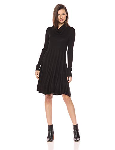 Calvin Klein Women's Long-Sleeve Cowl-Neck Fit and Flare Sweater Dress, Black18, S