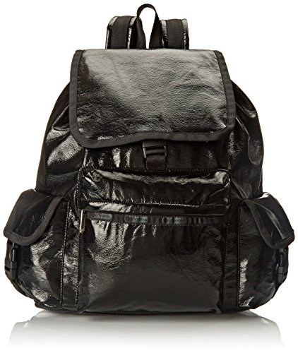 LeSportsac Voyager Backpack, Black Crinkle Patent, One Size