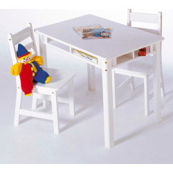 Lipper Rectangular Table and Chairs Set, White