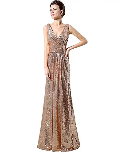 Lanier Gold Sequins Bridesmaid Dresses Formal Evening Gowns Gold Size 16