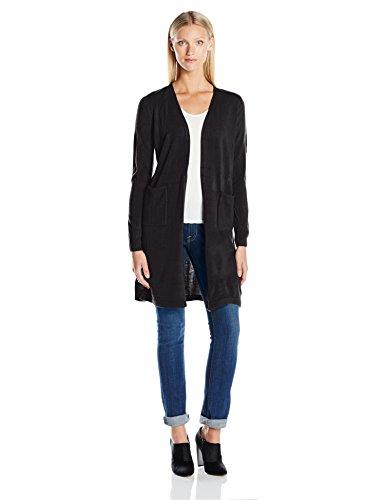 Sag Harbor Women's Long Sleeve Open Carcoat Duster Cardigan Cashmerlon Sweater, Black, XL