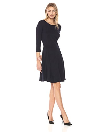 Lark & Ro Women's Three Quarter Sleeve Knit Fit and Flare Dress, Black, Medium