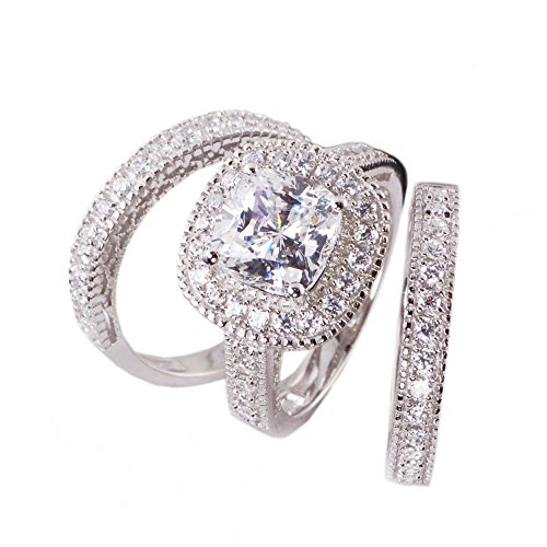 Sunee Jewelry And Gift 3pc Halo Princess Cushion Cut Cubic Zirconia Bridal Engagement Wedding Ring Set .925 Sterling Silver Size 5,6,7,8,9,10 (7)