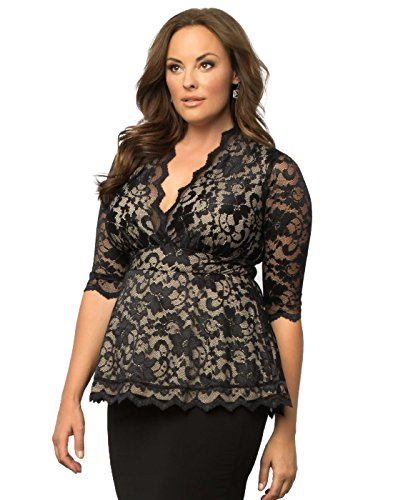 Kiyonna Women's Plus Size Linden Lace Top 4x Black Lace Nude Lining