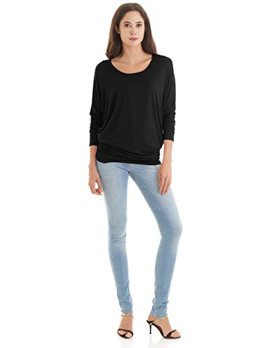 H2H Womens Boat Neck Dolman Style Long Sleeve Top Tee Black US M/Asia M (CWTTL0183)