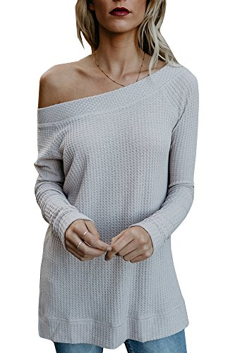 Beautife Womens Sweaters Off Shoulder Casual Oversized Long Sleeve Knit Pullovers Tunic Tops