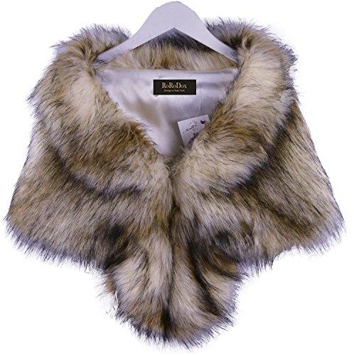 RoRoDox Warm Faux Fur Wedding Shawl Perfect for Wedding/party/show (Fox Color mixing Medium Size)