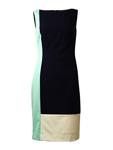 RALPH LAUREN Women's Sleeveless Colorblock Sheath Dress (14, Navy/Turquoise)