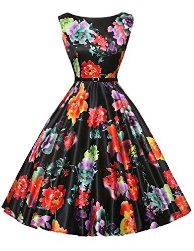 GRACE KARIN Floral Women's Vintage Wiggle Dresses Sleeveless Size 2XL F-14