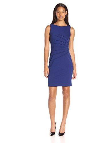 Ivanka Trump Women's Ponte Sleeveless Side Ruched Starburst Dress, Grape, 8