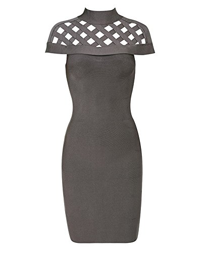 Whoinshop Women's High Neck Lattice Bodycon Midi Bandage Dress Grey XS