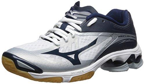 Mizuno Women's Wave Lightning Z2-W Volleyball Shoe, White/Navy, 11.5 D US