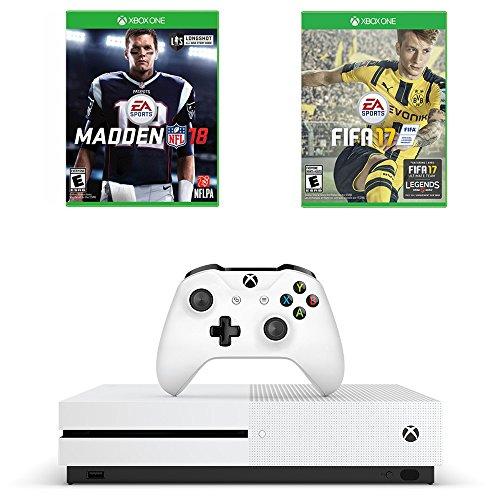 Microsoft Xbox One S Sports Game Bundle : Microsoft Xbox One S 500 GB – Robot White, Madden NFL 18 and FIFA 17