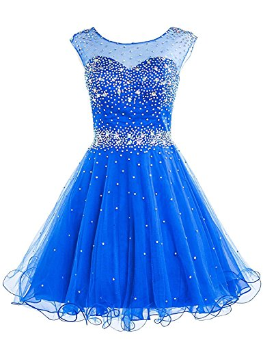 Sarahbridal Women's Short Tulle Beading Homecoming Dresses Prom Party Gowns Royal Blue US16