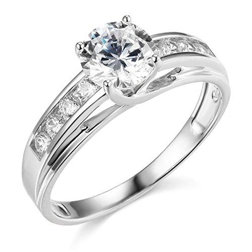 TWJC 14k White Gold SOLID Wedding Engagement Ring – Size 8