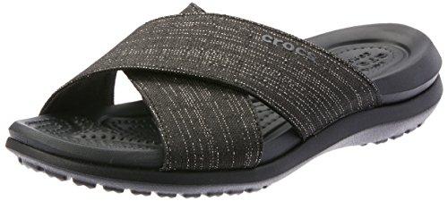 Crocs Women's Capri Shimmer Cross-Band Sandal Slide Black, 4 M US