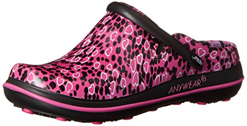 Anywear Women's Alexis Work Shoe, Pink Not Heart to Find Print, 5 M US