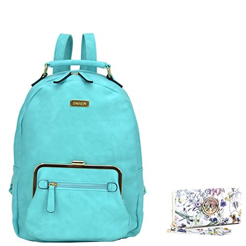 MMK collection Women Fashion Backpack with wallet (2443)~Designer Purse for Women ~Multi Pocket Backpack~ Beautiful Designer Handbag Set(2443/7025) (FN-03-6833-TQ 168)