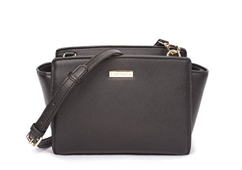 Korvara Mini Saffiano Crossbody Satchel – Premium Vegan Saffiano Leather Handbag with Top Zip