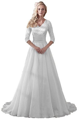 MILANO BRIDE Modest Wedding Dress For Bride V-neck Sleeves Organza Floral Lace-12-Pure White