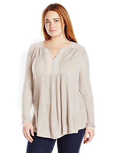 Lucky Brand Women's Drop Needle Knit Top, Oatmeal, Large