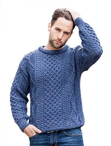 100% Pure New Wool Irish Springweight Aran Sweater, Denim, Large