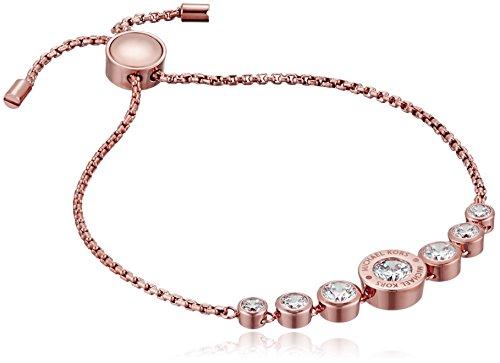 Michael Kors Logo Rose Gold-Tone and Jet Set Crystal Slider Bangle Bracelet