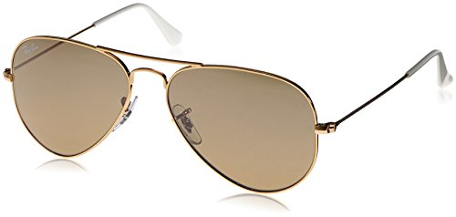 Ray-Ban 3025 Aviator Large Metal Mirrored Non-Polarized Sunglasses, Gold/Brown/Silver Mirror (001/3K), 55mm