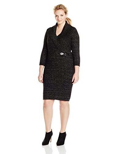 Calvin Klein Women's Plus-Size Cable Knit Sweater Dress with Buckle Detail, Black/Silver, 1X