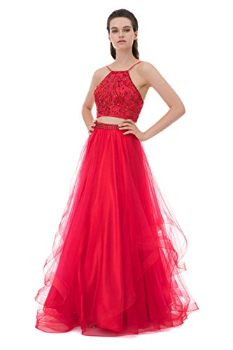 Huifany Halter Juniors Prom Dresses Two Piece Long Beaded Tulle Evening Gowns Formal Red,2