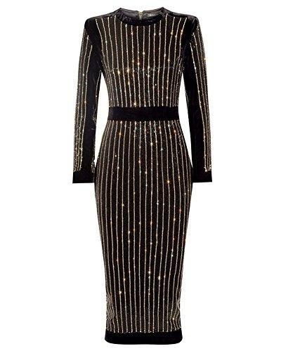 UONBOX Women's Long Sleeve Rhinestone Embellished Evening Cocktail Midi Bandage Dress (XL, black)
