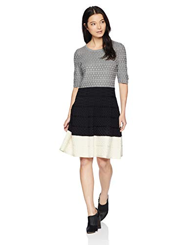 Gabby Skye Women's Petite Elbow Sleeve Round Neck Sweater Fit and Flare Dress, Grey/Black/Ivory, PM