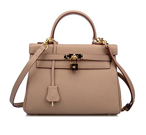 Ainifeel Women's Padlock Shoulder Handbags Hobo Bag (32cm, Taupe)