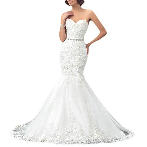 OYISHA Womens Sweetheart Mermaid Wedding Dress Beaded Bridal Dresses Long WD162 Ivory 14