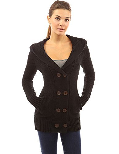 PattyBoutik Women's Hoodie Double Breasted Knit Sweater Coat (Black S)