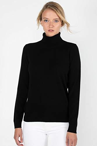JENNIE LIU Women's 100% Pure Cashmere Long Sleeve Pullover Turtleneck Sweater (2X, Black)