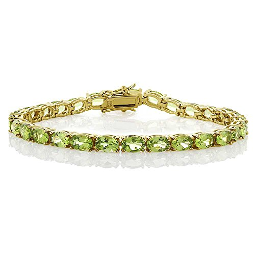 12.00 Ct 18k Yellow Gold Plated Sterling Silver Peridot Gemstone Birthstone Women's Tennis Bracelet, 7″