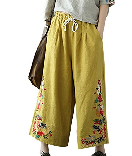 YESNO P45 Women Cropped Pants 100% Linen Casual Loose Wide Leg Ethnic Embroidery/Pockets (M, P45 Yellow)