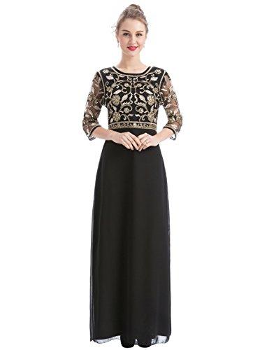 MANER Women Chiffon Beaded Sequin 3/4 Sleeve Long Gowns Prom Evening Bridesmaid Dress (M, Black/Apricot)