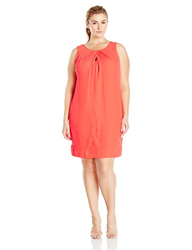 Donna Ricco Women's Plus Size Sleeveless Shift Dress Keyhole at Neck, Neon Coral, 24W