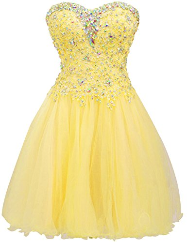 JAEDEN Short Homecoming Dress Cocktail Dresses Lace Party Dress Strapless Prom Dress Sweetheart Homecoming Dresses Ball Gown Yellow US12