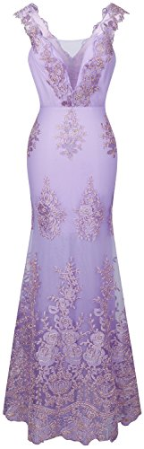 Angel-fashions Women's V Neck Embroidery Lace Flower Straps Mermaid Dress Large Plum