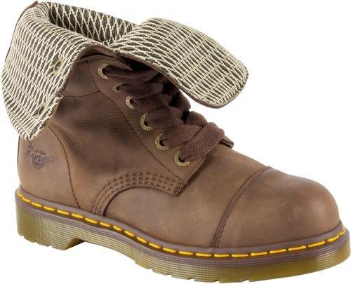 Dr. Martens Women's Leah St Combat Boot, Dark Brown, 5 UK/7 B US