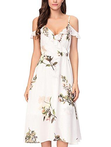 Noctflos Women V Neck Wrap Floral Printed Cocktail Party Swing Dress Tea Length