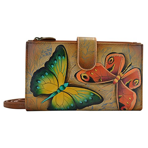 Anuschka Women's Hand Painted Large Smartphone Case & Wallet Earth Song, Est, One Size
