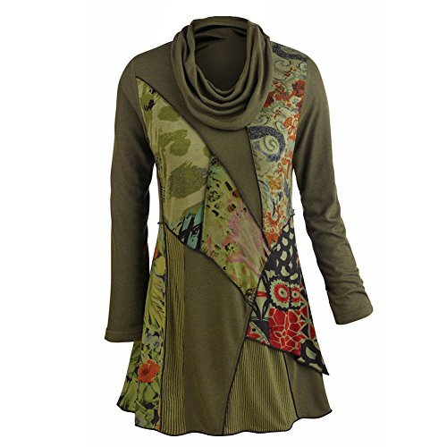 PARSLEY & SAGE Women's Tunic Top – We Love Olive Patchwork Printed Cowl Neck Blouse (X-Large)
