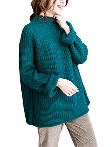 Mordenmiss Women's Long Sleeve Knitwear Pullover Sweater Various Styles and Colors (Style 8-Blue)